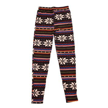 Soft Casual Warm Knitted Colorful Crystal Snowflake Pattern Fashion Leggings