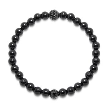 Men's Wristband with Agate and Black CZ Diamond