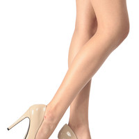 Nude Faux Patent Leather Pointed Toe Classic Pumps