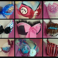 Custom Bra + FULL tutu **Costume is great for Raves, Parties, EDC, Ultra Music Festival, Electric Zoo**