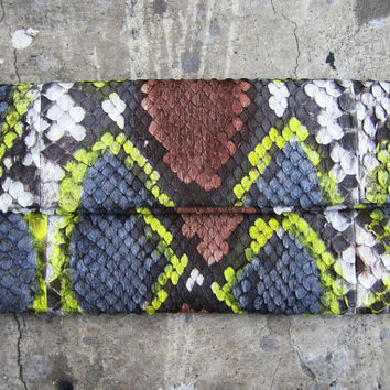 Hand Painted Fold Over Python Snakeskin Leather Clutch by linmade
