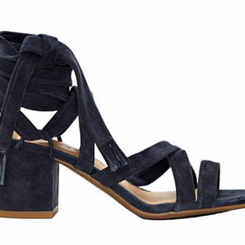 Lucky Brand Idalina Moroccan Blue Suede Lace Up Block Heel Sandals