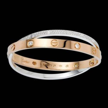 """Cartier""Trending Fashion Women Men Rose Gold Bracelet Screw Bracelet Lovers Bracelet Sliver G"