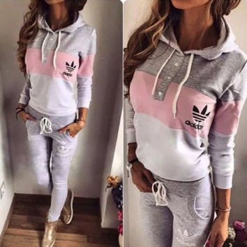 """Fashion """"Adidas"""" Multicolor Hoodie Sweater Pants Set Two-Piece"""