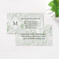 Sage and White Marble look with Diamond Monogram Business Card