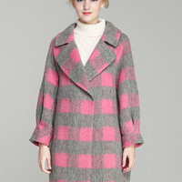 Pink Plaid Long Sleeve Woolen Lapel Coat