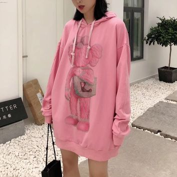 """Kwas"" Casual Fashion Letter Pattern Cartoon Draw String Diamond Long Sleeve Hooded Sweater Women Hoodie Tops"
