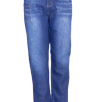 Plus Size Denim Blue Jeans With Side Thigh Pocket