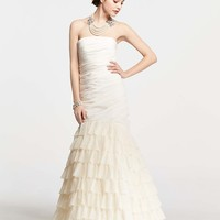 Ostrich Feather Strapless Wedding Dress