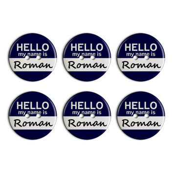 Roman Hello My Name Is Plastic Resin Button Set of 6