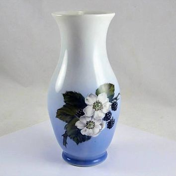 "Royal Copenhagen Blackberry Vase  - Ombre Blue Artist Signed 7"" Tall 1970s"
