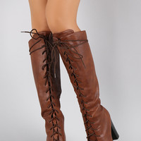 Qupid Round Toe Lace Up Heeled Combat Knee High Boot