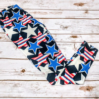 *Limited Edition* 4th of July America USA red white & blue stars leggings! Os& tc
