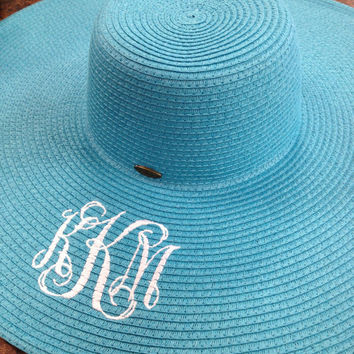 Monogrammed Floppy Beach Sun Hat