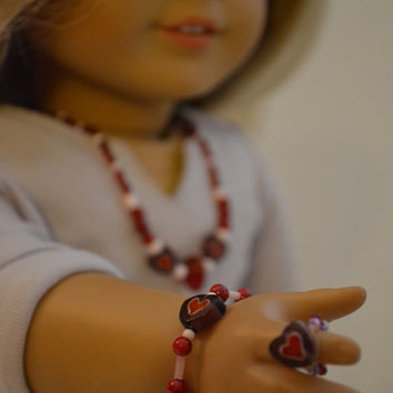 "American Girl and 18"" Doll 3 pc Heart Glass Bead Necklace"