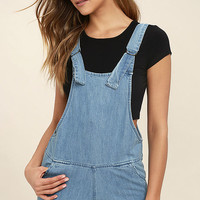 Element Eden Finn Blue Chambray Short Overalls