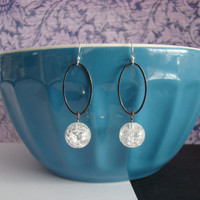 Oval Hoop and Crackle Bead Dangle Earrings
