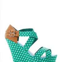 Double Buckled Polka Dot Strap Wedge