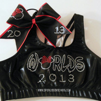 2013 Rhinestones Metallic Sports Bra and Bow by SparkleBowsCheer