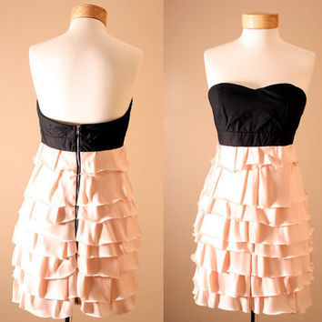 Statement Dress - Corset, Strapless, Black, Dusty Pink, Princess, Ruffle, Tiered, Dress, Peach, Bustier (S,M,L)