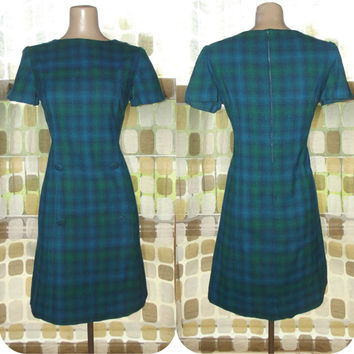 Vintage 60s Blue & Green Tartan Plaid Wool MOD Mini Dress M/L/XL