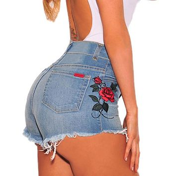 Vintage floral embroidered shorts Women rose flower embroidery shorts Elastic high waisted denim jeans Blue black short female