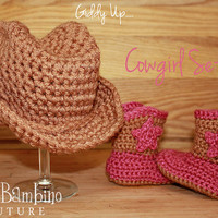 Cowgirl or Cowboy Crochet Baby Boots and Hat Set Photo Prop or Everyday Wear