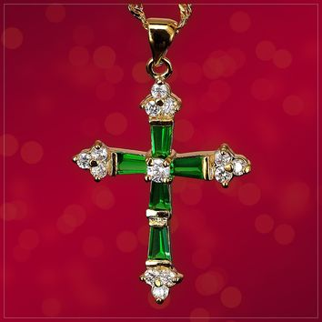 Cross Green Emerald Gold Tone Pendant
