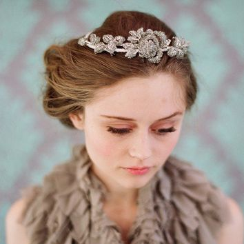 Bridal rhinestone headpiece  Rhinestone rose and leaf by myrakim
