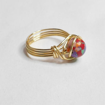 Red Multi Turquoise Gemstone Gold Wire Wrapped Ring