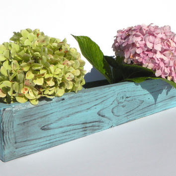 Metallic Ice Blue rustic style shabby chic wooden planter box for candles, weddings, flowers, household storage, etc