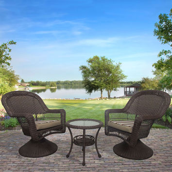 Outdoor Wicker Resin 3-Piece Patio Furniture Set with 2 Swivel Rocker Chairs and Side Table