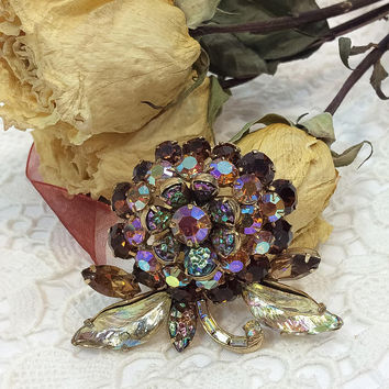 Hollycraft Domed Flower Brooch, Root Beer Crystals, Blue Molded Glass, Aurora Borealis, Statement Jewelry, 1960s Vintage Rhinestone Jewelry