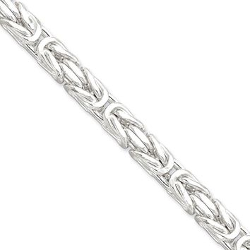 Mens 7.5mm Sterling Silver Square Solid Byzantine Chain Necklace, 22in