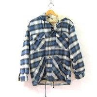 Vintage blue Plaid Flannel hoodie / Grunge Shirt jacket / fleece lined shirt coat / S