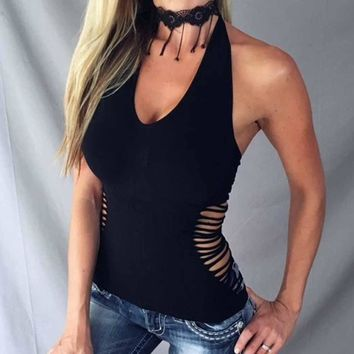 Women Black V-neck Side Cut Out Halter Sexy Camis Hollow Out Femininas Summer Vest Tops Casual Tank Top Base T-Shirts