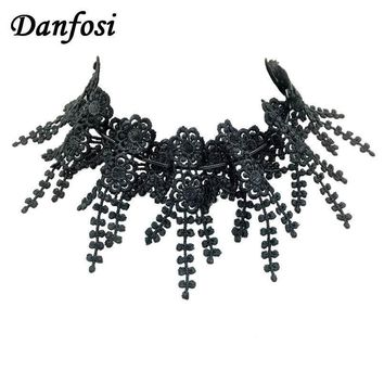 Danfosi Imitation Pearl Black Lace Flower Collar Choker Necklaces Women Long Leather Necklace Statement Bridal Jewelry N4244