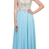 Starbox USA L6098 Light Blue Illusion Bateau Neck Chiffon Jeweled Bodice Cap Sleeves Prom Dress