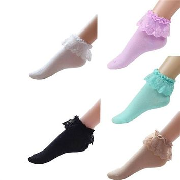 5 Pairs of Vintage Lace Cotton Ruffle Frilly Ankle Crew Socks