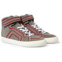 Pierre Hardy Suede and Leather High Top Sneakers | MR PORTER