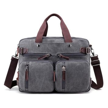 School Backpack trendy Vintage Canvas Laptop Backpack Female Multifunction Travel Bag Male School Satchel Sling Bag Large Capacity Casual Bagpack Purse AT_54_4