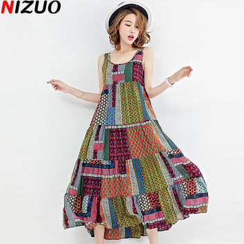 Plus Size Women Summer Sundress Linen Ethnic Style Fashion Colorful Pattern Print Female Casual Vintage Sleeveless Long Dresses
