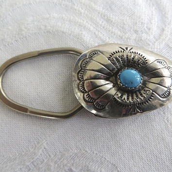 Navajo Keychain, Native American Key Fob, Sterling Silver Turquoise, Vintage Navajo Jewelry