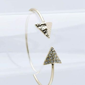 Clear Double Arrowhead Metal Cuff Bracelet