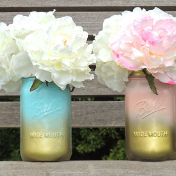 Blue and Gold ombre painted mason jars, pink and gold mason jars, wedding mason jars, jars for wedding, centerpiece mason jars