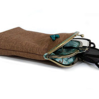Glasses case Double pockets - Sunglasses / Reading case - Brown Upholstery fabric - Antique Bronze Frame
