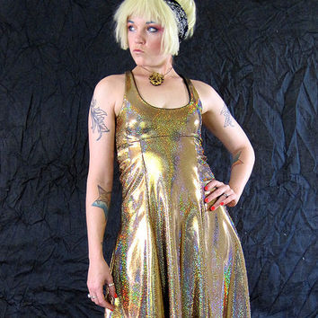 BeastWares Gold Holographic Oscar Party Rocker Flare Tank Dress