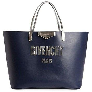 Givenchy Antigona Bubble Leather Tote Bag Night Blue