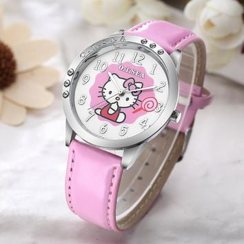 Hot Sales O.T.SEA Brand Candy Leather Hello Kitty Watch Children Girls Women Crystal Dress Quartz Wristwatch