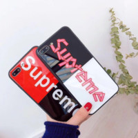 Trendy Supreme Print Color Blocking Iphone X 8 8 Plus Cover Case